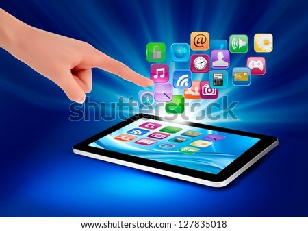 Hand holding touch pad pc and finger touching it's screen with icons. Vector illustration. - stock vector
