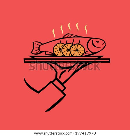 Hand holding tray  with baked fish  ,vector  icon - stock vector