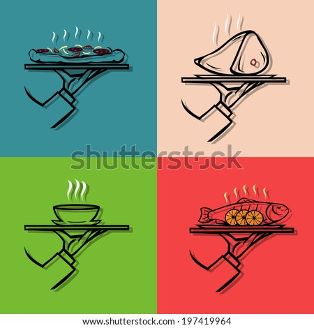 Hand holding tray  with tray with a variety of food  ,vector  icon - stock vector