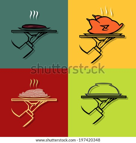 Hand holding tray  with tray with a variety of food  ,vector  icons - stock vector