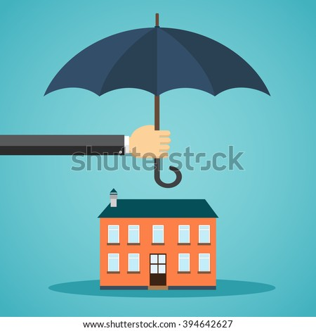 Hand holding umbrella over a house in flat style