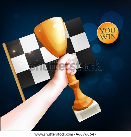 Hand Holding Up Trophy. Vector Winner Cup Illustration with Red Ribbon and Checkered Flag