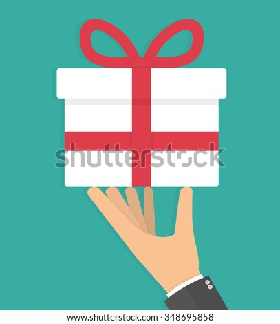 Hand holding white gift box with red bow. Flat style - stock vector