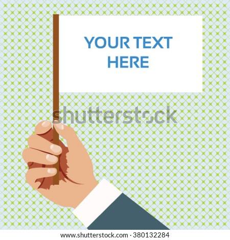 Hand holding white paper flag vector - stock vector