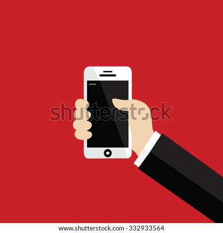 Hand holding white smartphone, touching blank screen - stock vector