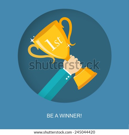 Hand holding winner's trophy flat illustration.Eps10 - stock vector