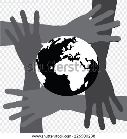 Hand Holding World and globe hands idea - stock vector