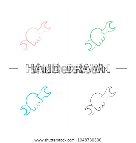Hand Holding Wrench Hand Drawn Icons Stock Vector 1048730300