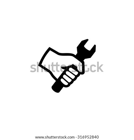 Hand holding wrench. Tool icon vector  - stock vector