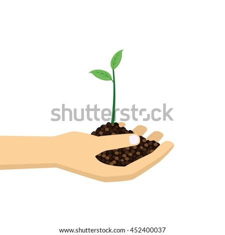 Hand holding young green plant. Growth concept vector illustration.