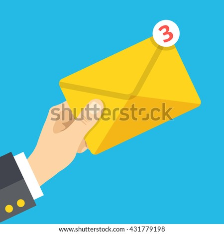 Hand holds envelope with notification. Email, letter, correspondence, new e-mail message, incoming messages concepts. Flat design vector illustration - stock vector