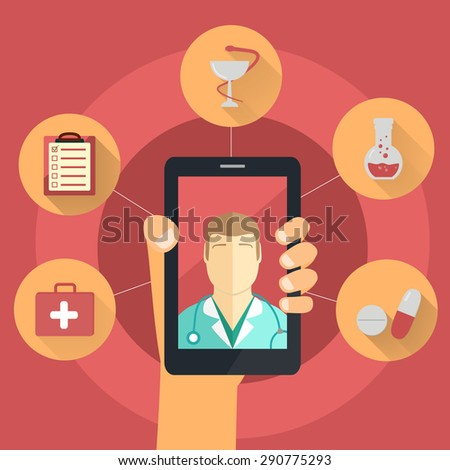 Hand holds smart phone with doctor on screen - remote medicine concept