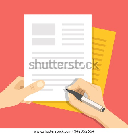Hand holds some documents and hand with pen signs documents. Treaty signing concept. Modern flat design concept for web banners, web sites, printed materials, infographics. Flat vector illustration - stock vector
