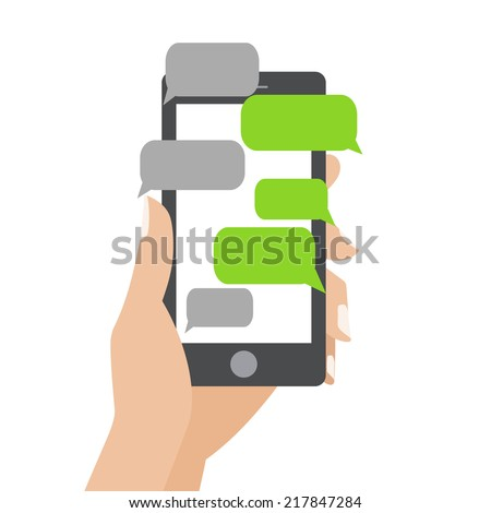 Hand holing black smartphone similar to iphon with blank speech bubbles for text. Text messaging flat design concept. Eps 10 vector illustration - stock vector