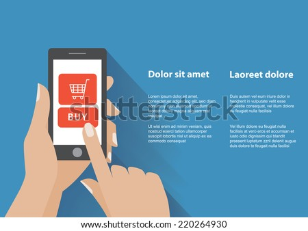 Hand holing smart phone with buy button on the screen. E-commerce flat design concept. Using mobile smart phone for online purchasing. Eps 10 vector - stock vector