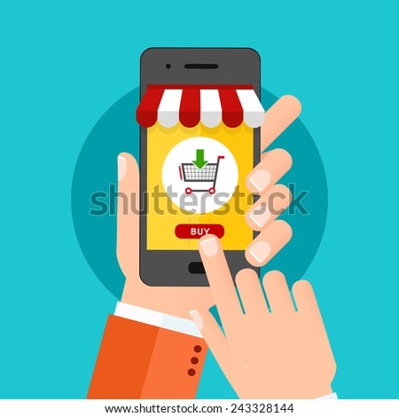 Hand holing smartphone with buy button on the screen. Flat design concept.  - stock vector