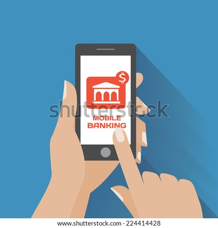 Hand holing smartphone with mobile banking icon on the screen. Using mobile smart phone similar to iphon, flat design concept. Eps 10 vector illustration - stock vector
