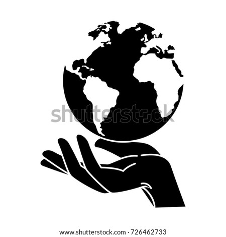 hand human protection with world planet