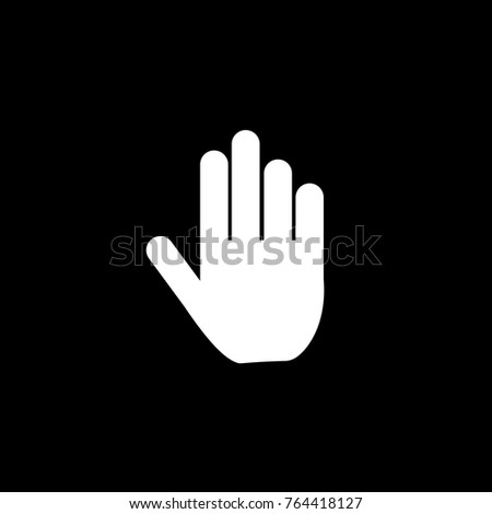Hand icon. Black background. Vector.