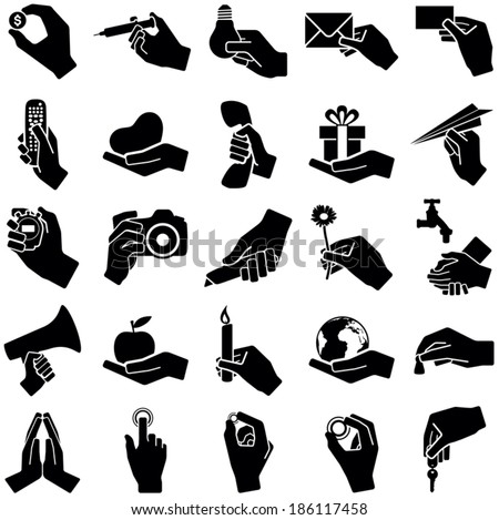 Hand icon collection - vector silhouette illustration  - stock vector