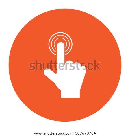 Hand icon pointer - click. Flat white symbol in the orange circle. Vector illustration icon - stock vector