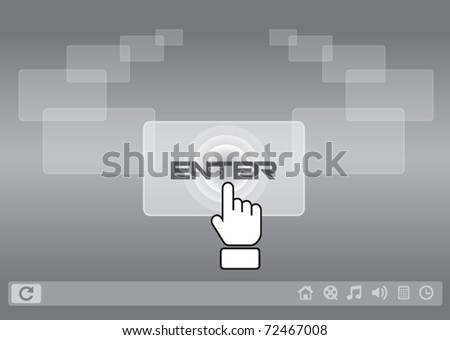 hand icon pushing touch screen - stock vector