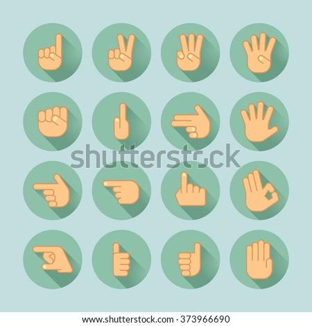 hand icon set - stock vector