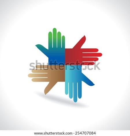 hand icon symbol of team work - stock vector