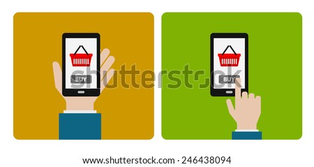 hand icon with smartphone buy concept for business - stock vector
