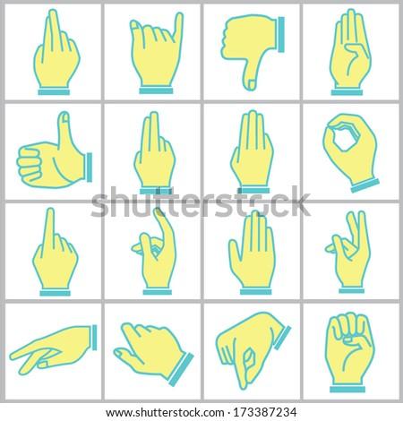 hand icons set, cartoon style, blue theme icons - stock vector