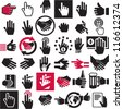 Hand icons set. Handshake. Black vector symbols collection. - stock