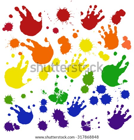hand imprint . Watercolor Rainbow Colors Gay Lesbian LGBT vector illustration Vector color blots on white background for design use of paint splash. - stock vector