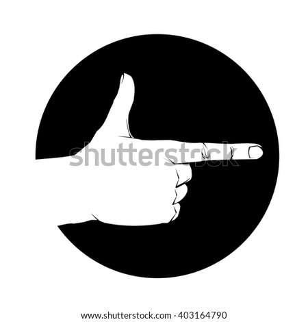 Hand in gun figure Shooting gesture Vector illustration