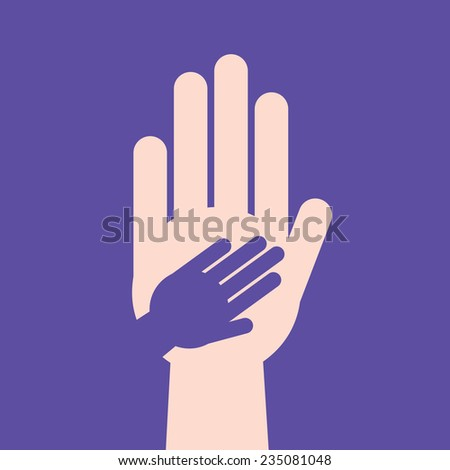Hand in hand cutout silhouette  - stock vector