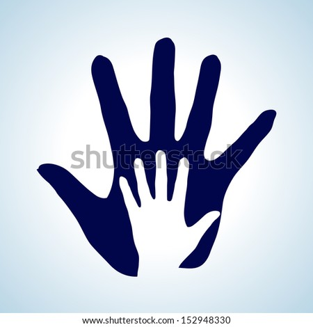 Hand in hand illustration in white and blue rendering help, assistance and cooperation.