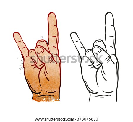 Hand in rock sign. Vector illustration - stock vector