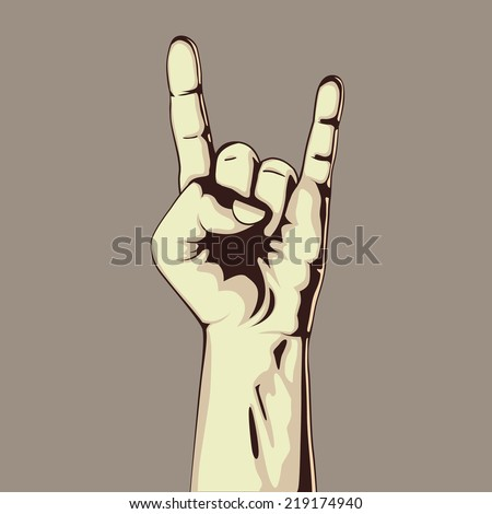 Hand in rock sign. Vector illustration. Hand collection. - stock vector