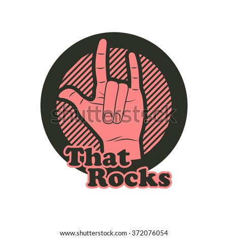 Hand in that rocks sign. Vector illustration. Rock n roll symbol.