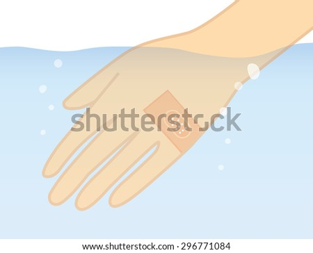 Hand in the water with stick waterproof bandage plaster protect lesion