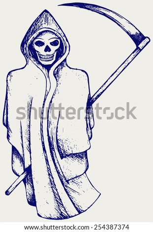 Hand inked grim reaper. Doodle style - stock vector