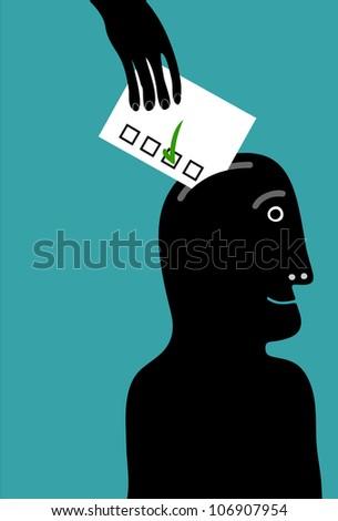 hand insert vote card in man head - stock vector