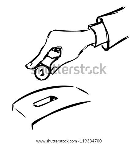 Hand inserting a coin into a bank. Vector illustration.