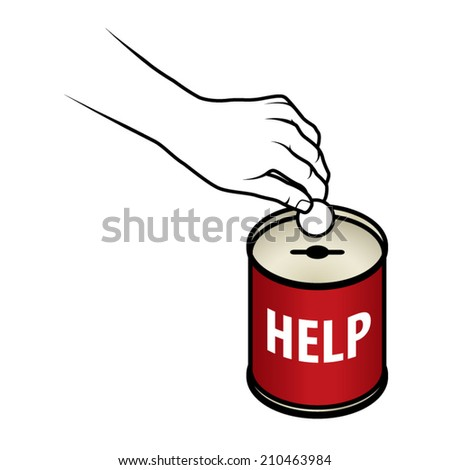 Hand inserting coin into a donation/charity tin with a slot for coins and a hole for notes. Text says Help. - stock vector