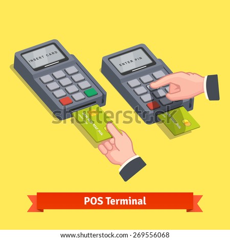 Hand inserting credit card to a POS terminal, entering pin code and printing receipt. Flat style isometric vector icon. - stock vector