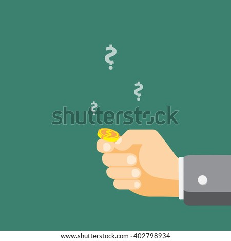 Hand is going to flip a coin - stock vector