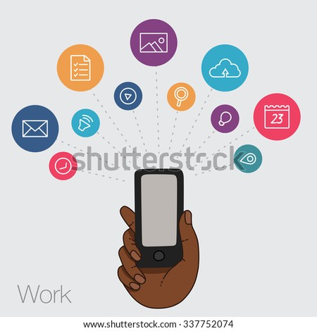 Hand keeps mobile with set of line icons. Demonstration screen of display for market. Internet trends, social network, search in smartphone. Vector flat illustration of cloud service and technology.