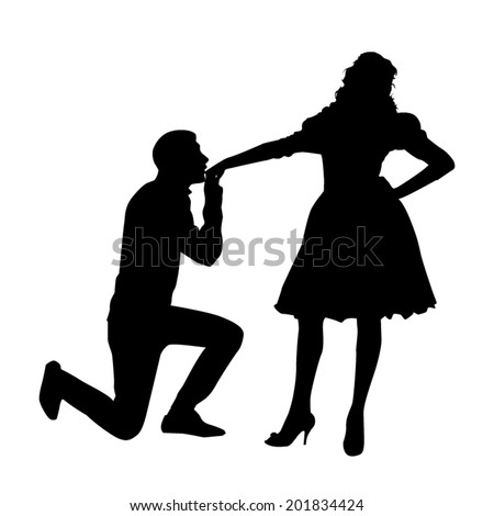 Hand Kiss Silhouette - stock vector