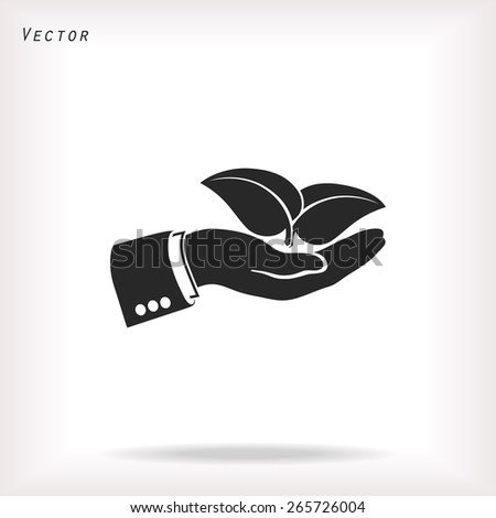 hand & leaf - nature conservation or spa concept vector. The gra - stock vector