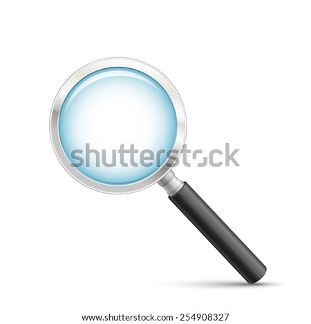 Hand lens icon. Symbolic representation for the ability to search or zoom. Magnifying glass vector illustration