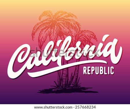 Hand lettered California republic apparel t shirt fashion design, summer beach palm tree tee graphic, typographic art, ink drawing vector illustration, Golden state west coast travel souvenir - stock vector